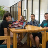 Amber Austin, Melody Brason, Chloe Perez, Gabriel Hinojosa and Joshua Messina hang out in the Faculty Center.