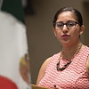 Andrea Montalvo-Hamid speaks during the Hispanic Heritage Month Kick Off event in the UC.