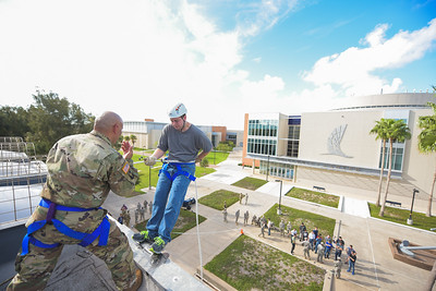 Brandon Camp takes part in the Islander ROTC battalion's rappelling event.