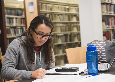 TAMUCC Student Mayra Rodriguez preps herself for a test.