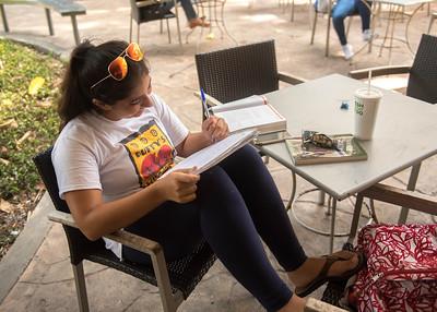 Student Jennifer Cantu works on her history studies.