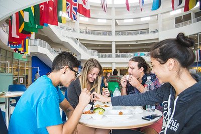 Makenzie Williams (left), Alexandra Davis, Sean Santos and Renee Gonzalez grab a meal in the UC.  Learn more about islander dining:  http://www.dineoncampus.com/islanderdining/idx.cfm?