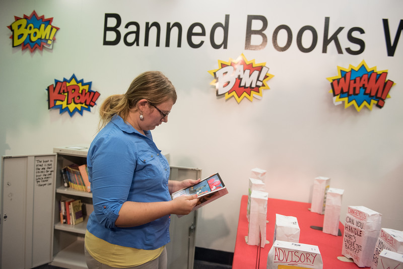 """Viewer discretion is advised when reading banned book at the library.""  - Emily Klein"