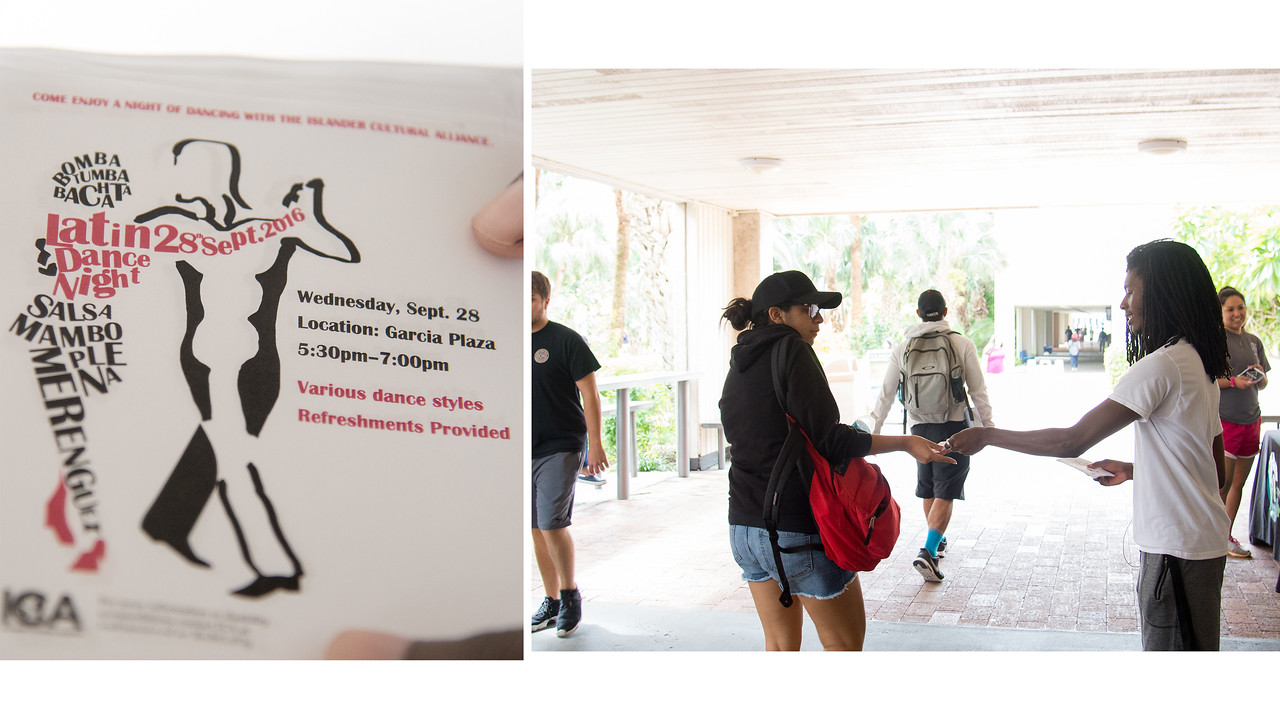 Christopher Tucker with the ICA, hands out flyers in the breezeway -for the Latin Dance Night.