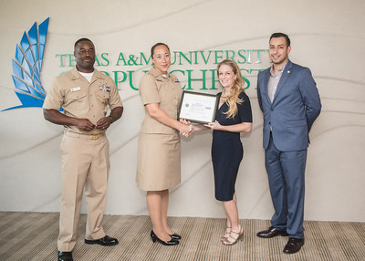 Command Chief English (left) Commanding Officer Ehret, Jill Jacobs and Victor Navarette.  View more photos: https://islanduniversity.smugmug.com/Events/Events-By-Year/2016/092316-Patriotic-Employer-Awar