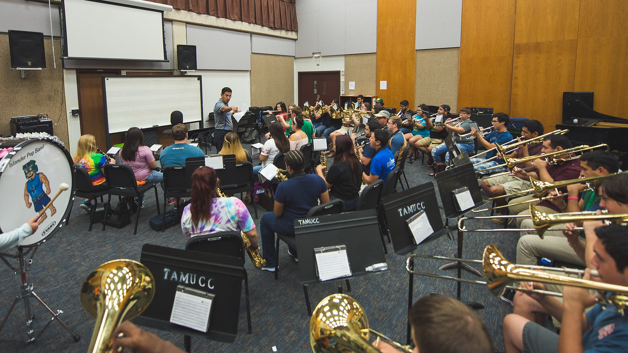Dr. Kenneth Iyescas during the pep band class in the Center for Arts building.