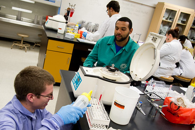 Student Jay Luna (right) observes Joshua Lee (left) as he prepares a lab sample.