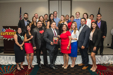 The Young Business Professionals of the Coastal Bend post for a group photo during their annual Super Hero Dinner. This year's event honored Gabe Guerra, president of Kleberg Bank.