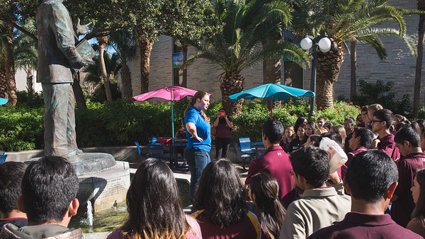 Students from Zapata High School make a stop in Dr. Hector P. Garcia plaza during a tour of the TAMU-CC campus.