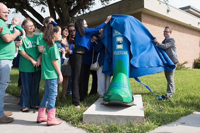 Katarina Chapa (left) and Russell Wagner (right) unveil the new TAMU-CC boot in Mercedes, Texas.  Full story: http://bit.ly/2fnjkY3