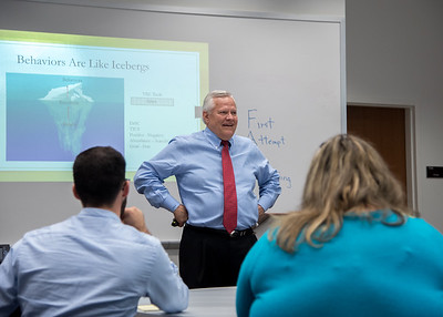 Executive Vice President of Holt Companies Larry Mills speaks to students at the Leadership Values Summit on campus.