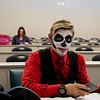 Richard A. Schreiber pauses for a photo in his Halloween attire during class.