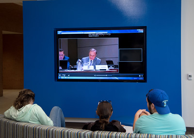 Students watch a livestream of the TAMUS Board of Regents meeting discussing the potential merger of Texas A&M University-Corpus Christi and Texas A&M University-Kingsville.