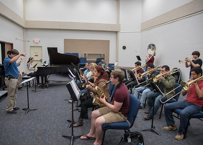 Dr. Thacker leads his Jazz Ensemble during a practice session.