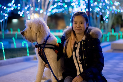 Student Megan Goodnan enjoys the festive atmosphere in Lee Plaza.