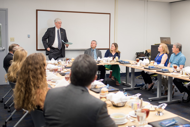 President Flavius Killebrew addresses members of the President's Council during a Lunch & Learn session in the Mary and Jeff Bell Library.