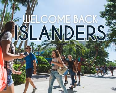Islanders make their way around campus.