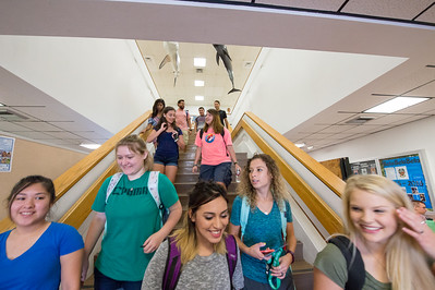 Students make their way through the science building.