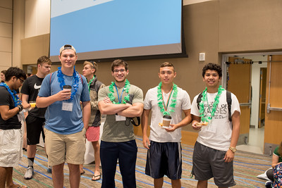 Harrison Bracher (left), Joseph Guerrero, Edward Pecina, Sean Castillo, and Elias Trevino grab breakfast before they depart to their Aloha Days event.