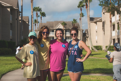 Melody Avallos (left) Jaime Pultorak, Avery Harrison and Jessie Broome pose take a break to pose for a photo during move in day.