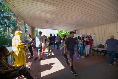 Students make their way through the breezeway.