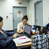 Studnets Liliana Perez, Rozana Villalta and Ana Salamanea study for their finals in the Mary and Jeff Bell Library.