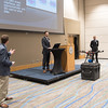 """Sean Whetstone(left) Aaron Johnson and Mike Rink present their Mass Vapor Detection capstone design project.<br /> <br /> More photos: <a href=""""https://flic.kr/s/aHskzVXGyU"""">https://flic.kr/s/aHskzVXGyU</a>"""
