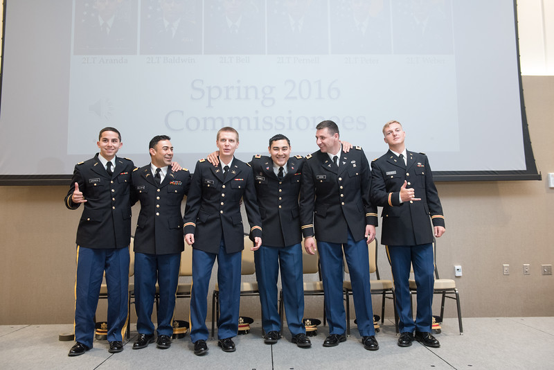 """Six members of the ROTC Batallion were commissioned into 2nd Lieutenant during the 2016 Spring Commissioning ceremony.<br /> <br /> More photos: <a href=""""https://flic.kr/s/aHskwCxyNA"""">https://flic.kr/s/aHskwCxyNA</a>"""