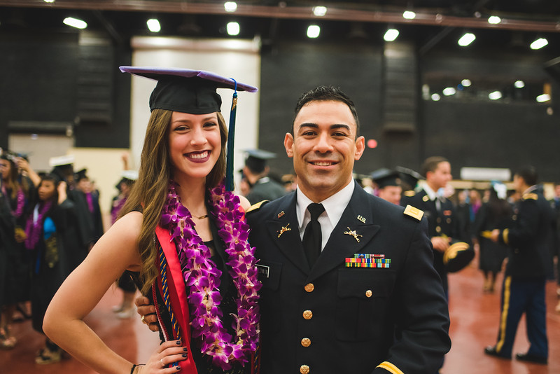 """Kalli Hanson and Jose Baldwin pose for a photo as they wait for the Spring 2016 Commencement to begin.<br /> <br /> More photos: <a href=""""https://flic.kr/s/aHskwtWSi2"""">https://flic.kr/s/aHskwtWSi2</a>"""