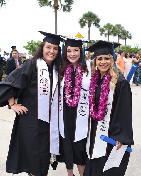 "Christina Brooks(left) Taylor Kyle and Samantha Uriegas pose for a photo following the 2016 Spring Commencement.<br /> <br /> More photos: <a href=""https://flic.kr/s/aHskwtWSi2"">https://flic.kr/s/aHskwtWSi2</a>"