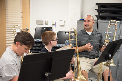 Dr. Raimundo Morales Assistant Professor of Music, goes over techniques during the  Trombone sectional. Part of the 2016 Summer Band Camp.