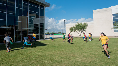 Islander Rec Camp hosts a game of flag football on East Lawn.