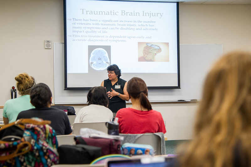 Nursing Care Psych Client classroom taught by professor Carmen Hernandez.