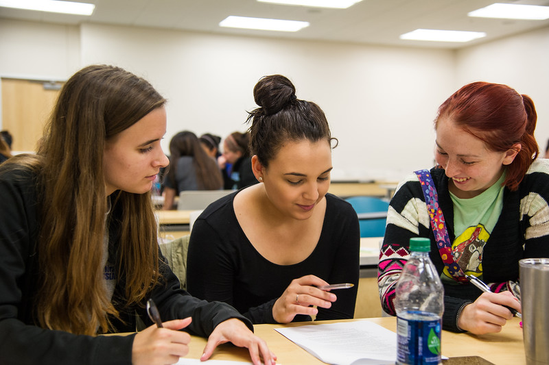 Students Ruthie Kalbfleisch, Damaris Gonzalas, and Elizabeth Cortinas (From Left to  Right) work together on an assignment in their Health Assessment class.