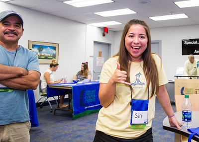 New student Genesis Flores in the second floor of the Mary and Jeff Bell Library to learn about different student involvement programs during day two of orientation
