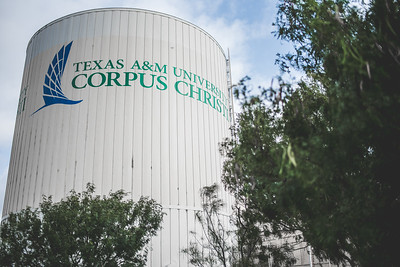 The TAMU-CC logo displayed on the campus water tower.
