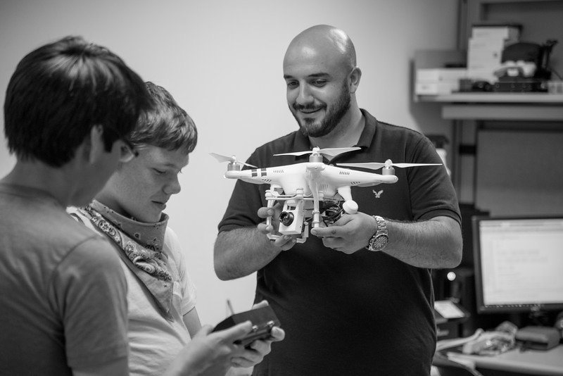 UAS instructor demonstrates what the camera sees when in flight.