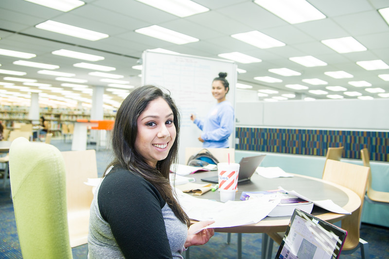 Brenda Sorano (left) studies for her med-surge final with Carolina Montes in the Mary and Jeff Bell Library.