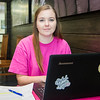 Student Amber Otholt visits the Starbucks on campus to prepare for a presentation.