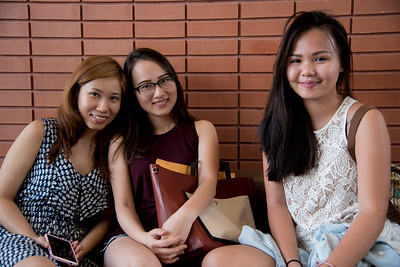 Thuy Huynh(left), Auh Pham(middle) and Huong Nguyen(right) share each others company in wait of their class.