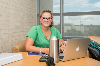 Student Hailey Elane utilizes the study spaces available on the 2nd floor of the O'Connor building.
