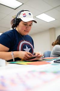 Melissa Cisneros puts together a color study for her Design 3 Color Theory class.