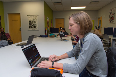 Catharina Garrett works on her documentary project in her Advance Production Documentary course.