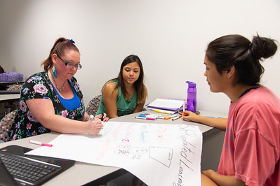 Shalyn Watt (left), Rheana Gomez, and Erika Moreno working on a self-regulated learning poster in their Childhood Development course.