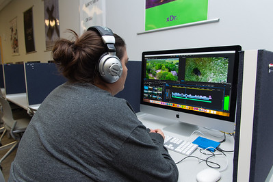 Lavinia Hays works on her documentary project in her Advance Production Documentary course.