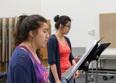 Students Micaela Ramos (left) and Alondra Aguilar practice their duet during an Opera Workshop.