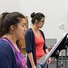 Students Micaela Ramos (left) and Alondra Aguilar practice their duet during Opera Workshop.