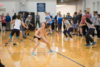 Attendees at the NSCA Midwest Regional Conference participate in Agility Development exercises in the Dugan Wellness Center Gym.