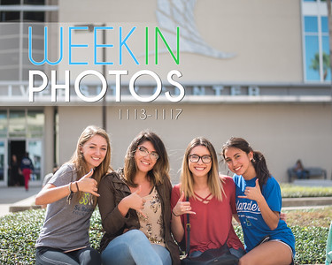 Avery Linhart (left), Crystal Quevedo, Elyanna Aguirre, and Leonela Garza gather for a photo during the Tamucc ROTC Rappelling event in Anchor Plaza.