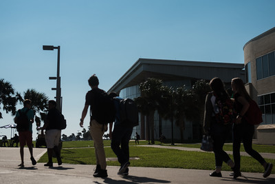 Students walk to class on this beautiful day at the Island University.